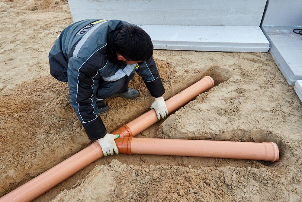 Разводка труб наружной канализации